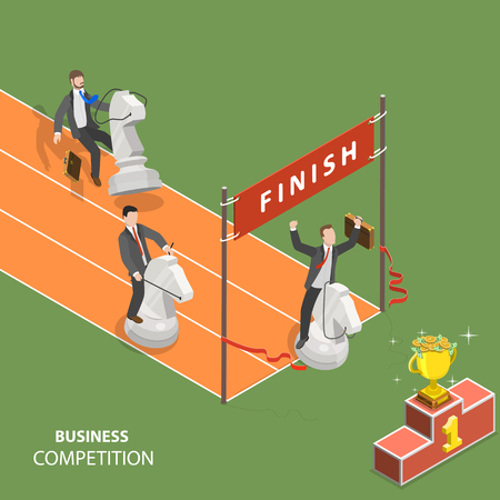 Illustration for Business competition flat isometric low poly vector concept. - Royalty Free Image