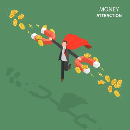Illustration pour Money attraction flat isometric low poly vector concept. - image libre de droit