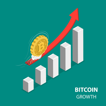 Foto de Bitcoing growth flat isometric low poly vector concept. Bitcoin is moving up at high speed over the rising financial chart. - Imagen libre de derechos