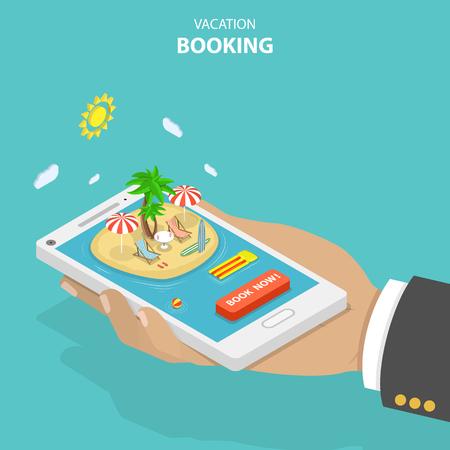 Ilustración de Vacation booking flat isometric low poly vector concept - Imagen libre de derechos