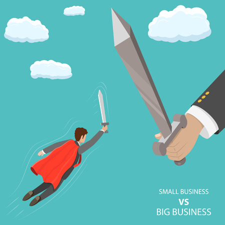 Foto de Small business VS big flat isometric vector concept. A businessman that looks like a superhero is flying with sword in his hand to fight with huge hand with big sword. - Imagen libre de derechos