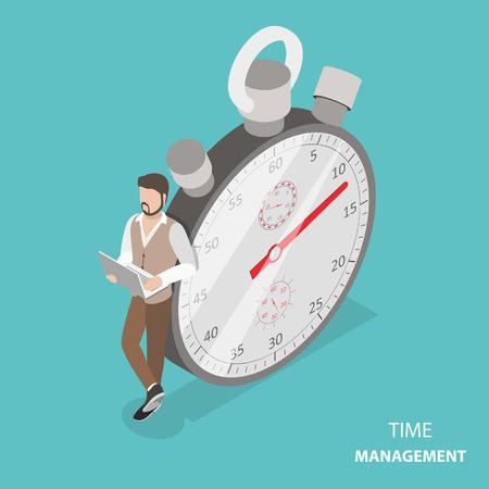 Illustration pour Time management flat isometric vector concept - image libre de droit