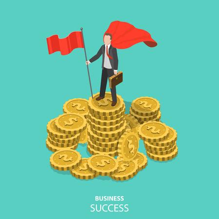 Ilustración de Business success flat isometric vector concept. - Imagen libre de derechos