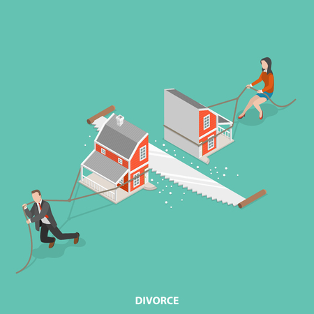 Illustration pour Divorce flat isometric vector concept. Man and a woman are dragging their half of the sawn house. - image libre de droit