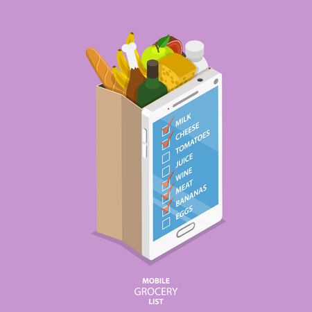 Illustration pour Mobile grocery list flat isometric vector concept. Paper grocery bag with front side looking like smartphone with list of the food to buy. - image libre de droit