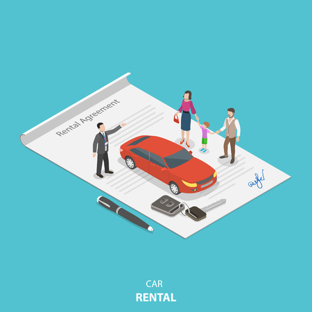 Photo pour Vehicle rental flat isometric vector concept. Rental agent is describing the car rental condition to the young family standing on the rental agreement. - image libre de droit