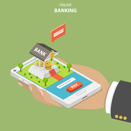 Ilustración de Online banking flat isometric vector concept. Hand is holding a smartphone with a bank building on it. The user is performing a secure payment by entering a security code. - Imagen libre de derechos