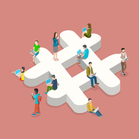 Illustration for Hashtag flat isometric vector concept. People with laptops and smartphones are sitting on and around the three-dimensional hashtag sign. - Royalty Free Image