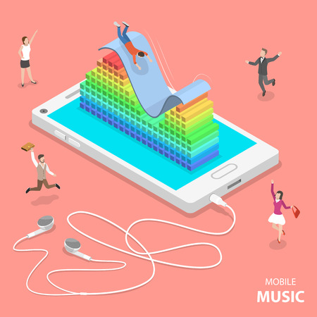 Ilustración de Mobile music flat isometric vector concept. Slider and a 3D audio equalizer are on top the smartphone. People are dancing around it and one of them is sliding down the slider. - Imagen libre de derechos