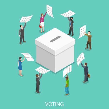 Illustration pour Voting flat isometric vector concept. - image libre de droit
