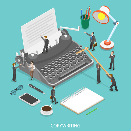 Ilustración de Copywriting flat isometric vector concept. People are trying to create some text on the paper sheet using a typewriter. - Imagen libre de derechos