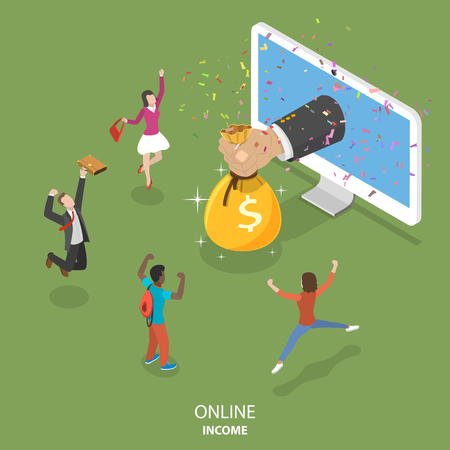 Illustration for Online income flat isometric vector concept. - Royalty Free Image