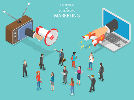 Ilustración de Inbound vs outbound marketing isometric vector. - Imagen libre de derechos