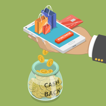 Illustration for Cash back flat isometric vector concept. - Royalty Free Image