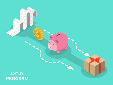 Illustration for Loyalty program flat isometric vector concept. - Royalty Free Image