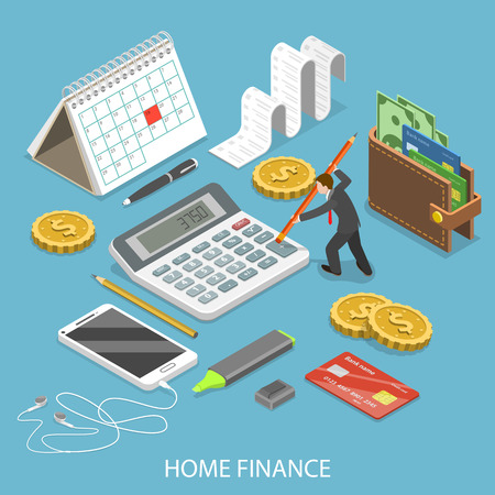 Illustration pour Personal home finance flat isometric vector. - image libre de droit