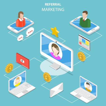 Illustration pour Referral marketing flat isometric vector concept. - image libre de droit