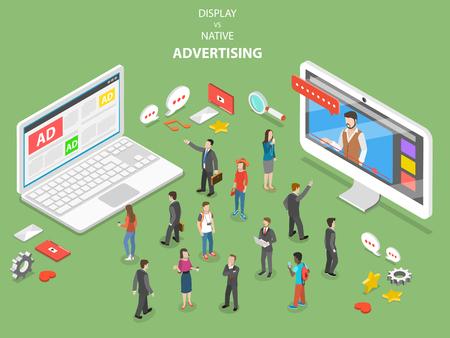 Ilustración de Display vs native advertising isometric vector. - Imagen libre de derechos