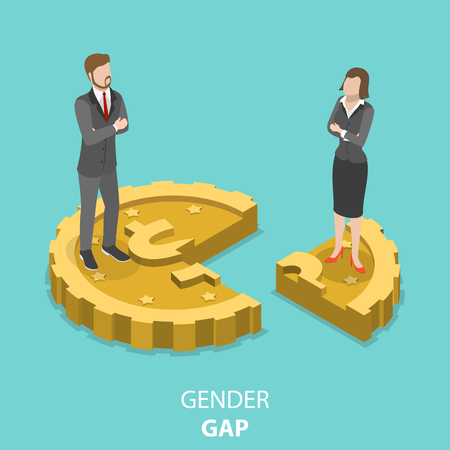 Illustration pour Gender gap flat isometric vector concept. - image libre de droit
