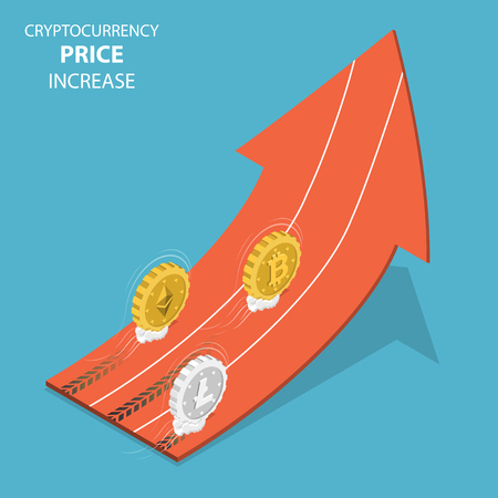 Illustration pour Cryptocurrency price increase isometric vector. - image libre de droit