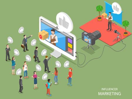 Illustration pour Influencer marketing concept flat isometric vector concept - image libre de droit
