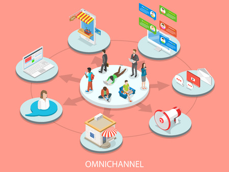 Illustration pour Omnichannel flat isometric vector concept. - image libre de droit