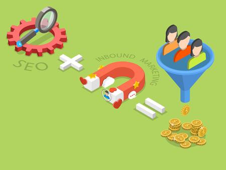 Ilustración de SEO plus inbound marketing flat isometric vector. - Imagen libre de derechos