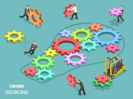 Ilustración de Crowd sourcing flat isometric vector concept. - Imagen libre de derechos