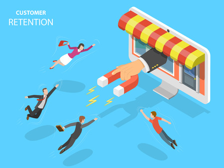 Ilustración de Online store customer retention vector illustration. - Imagen libre de derechos
