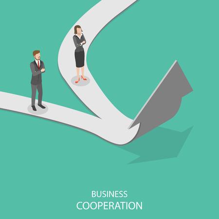 Ilustración de Business cooperation flat isometric vector concept. - Imagen libre de derechos