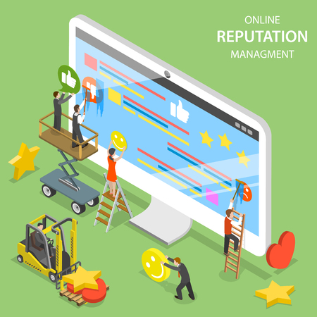 Illustration pour Reputation management flat isometric vector. - image libre de droit