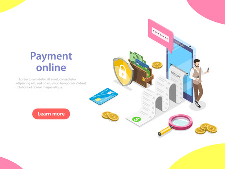 Illustrazione per Payment online flat isometric vector concept. - Immagini Royalty Free