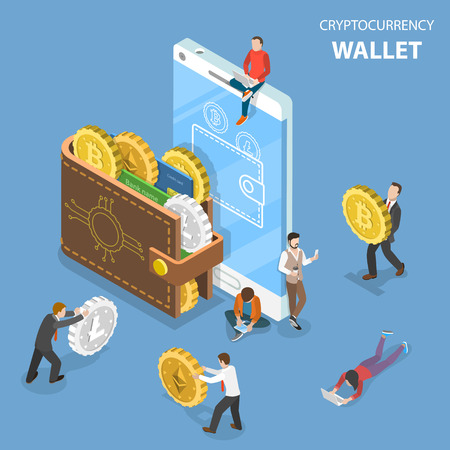 Photo for Cryptocurrency wallet flat isometric vector. - Royalty Free Image