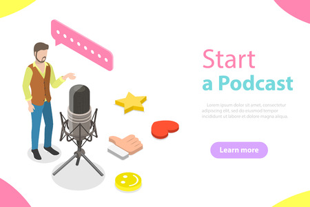 Ilustración de Podcasting flat isometric vector concept. A blogger is standing near the big microphone and recording a podcast. - Imagen libre de derechos