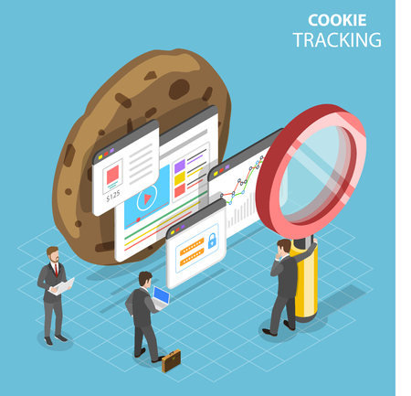 Illustration pour Flat isometric vector concept of web cookie tracking. - image libre de droit