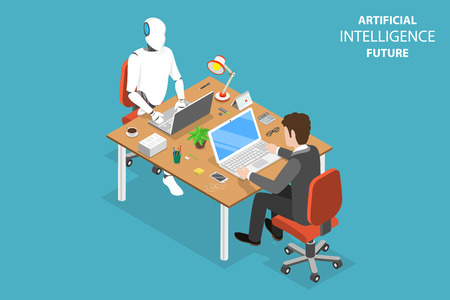 Ilustración de Flat isometric vector concept of AI future, robot and human cooperation, artificial intelligence, business automation. - Imagen libre de derechos