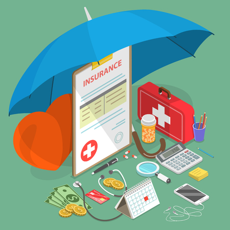 Ilustración de Flat isometric vector concept of health insurance, medical care, prescription medications. - Imagen libre de derechos