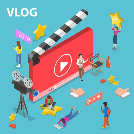 Ilustración de Flat isometric vector concept of video blog, vlog, online channel, creating video content. - Imagen libre de derechos