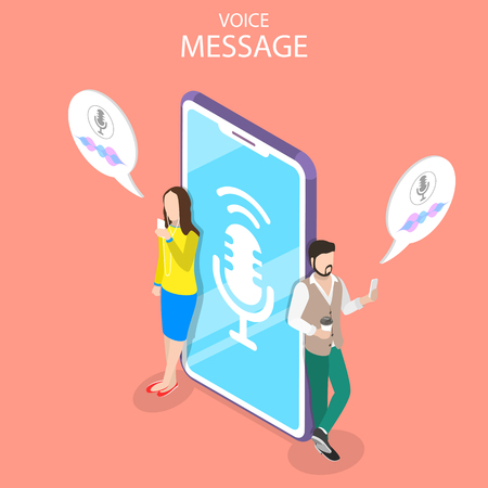 Ilustración de Isometric flat vector concept of voice message, personal assistant, voice recognition, soundwave intelligent technologies. - Imagen libre de derechos