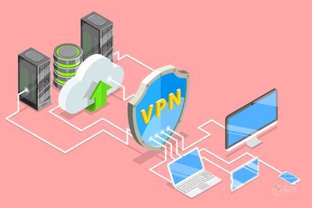 Ilustración de VPN protection isometric flat vector conceptual illustration. - Imagen libre de derechos