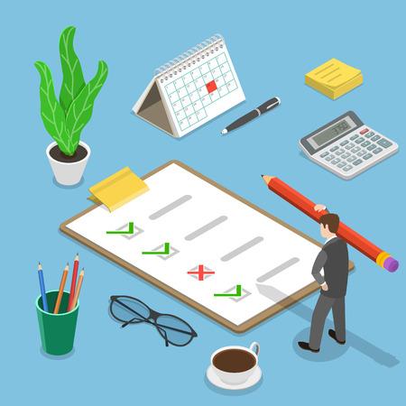 Illustration pour Flat isometric vector concept of survey, customer review, feedback service, customer satisfaction. - image libre de droit