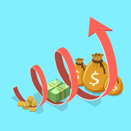 Ilustración de Income growth flat isometric vector concept. Concept of financial growth, business productivity, ROI, financial performance. - Imagen libre de derechos