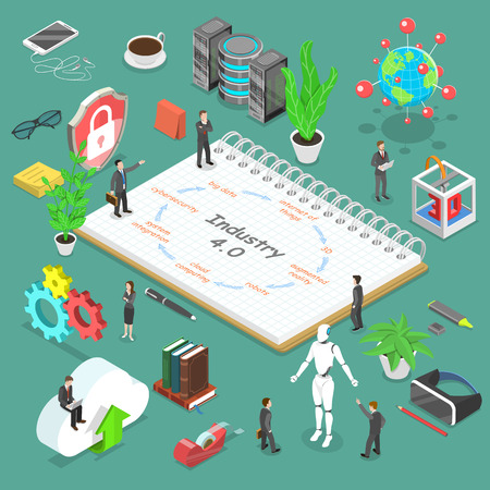 Illustrazione per Isometric flat vector concept of industry 4, smart industrial revolution, augmented reality, iot, ai, cloud computing. - Immagini Royalty Free
