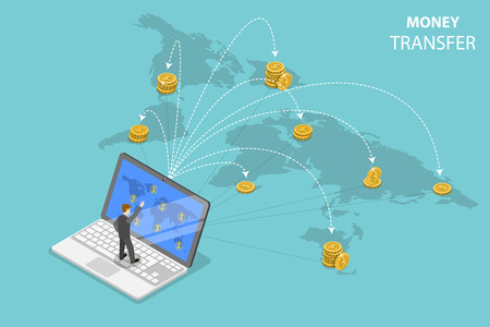 Illustration pour Isometric flat vector concept of sending money around the world, money transfer, online banking, financial transaction. - image libre de droit