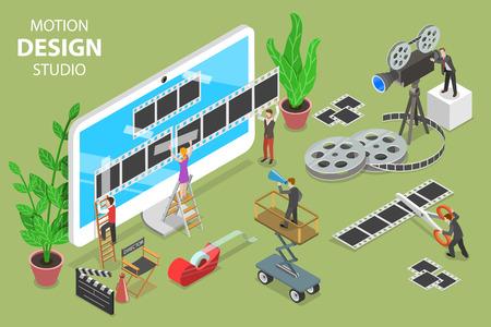 Ilustración de Isometric flat vector concept of motion design studio, video editor app, creating video online. - Imagen libre de derechos