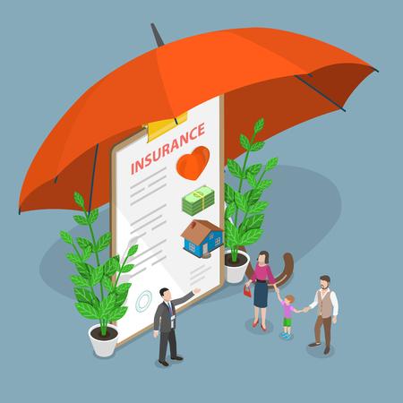 Illustration pour Insurance options isometric flat vector concept. - image libre de droit