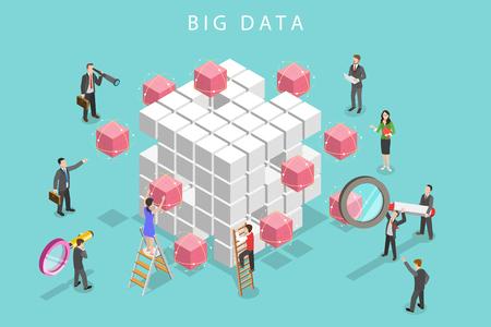 Ilustración de Flat isometric vector concept of big data analysis, database research, advanced analytics. - Imagen libre de derechos