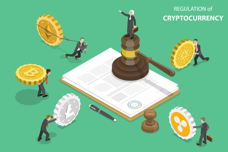 Illustration for Isometric flat vector concept of regulation of cryptocurrency, digital currency legislation, legislative control. - Royalty Free Image