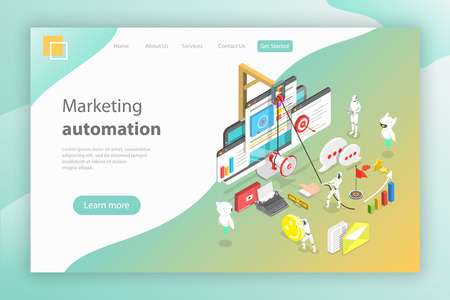 Illustration pour Isometric vector concept of digital marketing automation, ai, chatbot. - image libre de droit