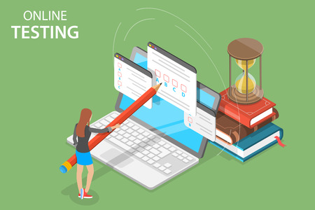 Illustration pour Isometric flat vector concept of online testing, questionnaire form, online education, survey, internet exam. - image libre de droit